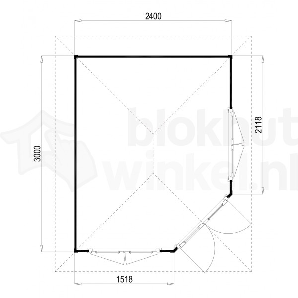 Plattegrond Lugarde tuinhuis Fifth Avenue 240x300 V9