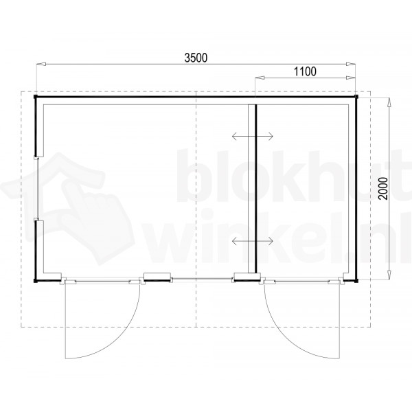 Plattegrond Woodford houtskeletbouw tuinhuis Cardiff 350x200