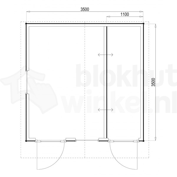 Plattegrond Woodford houtskeletbouw tuinhuis Cardiff 350x350