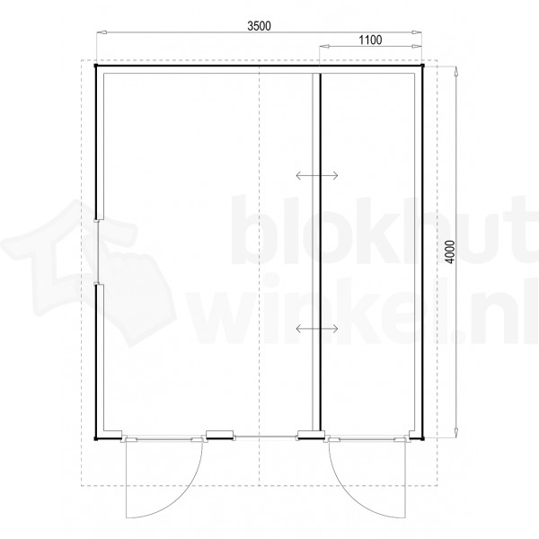 Plattegrond Woodford houtskeletbouw tuinhuis Cardiff 350x400