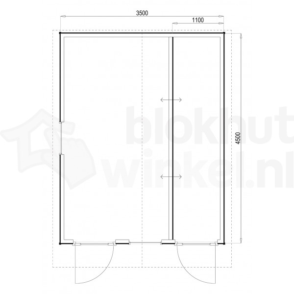 Plattegrond Woodford houtskeletbouw tuinhuis Cardiff 350x450