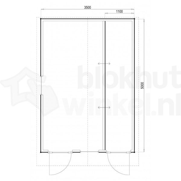 Plattegrond Woodford houtskeletbouw tuinhuis Cardiff 350x500