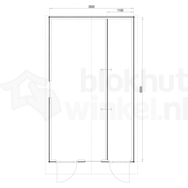 Plattegrond Woodford houtskeletbouw tuinhuis Cardiff 350x600