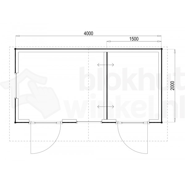 Plattegrond Woodford houtskeletbouw tuinhuis Cardiff 400x200