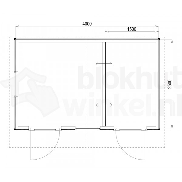 Plattegrond Woodford houtskeletbouw tuinhuis Cardiff 400x250