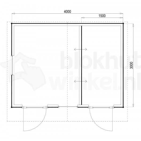 Plattegrond Woodford houtskeletbouw tuinhuis Cardiff 400x300