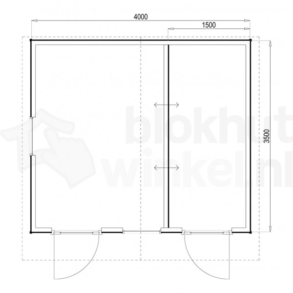 Plattegrond Woodford houtskeletbouw tuinhuis Cardiff 400x350