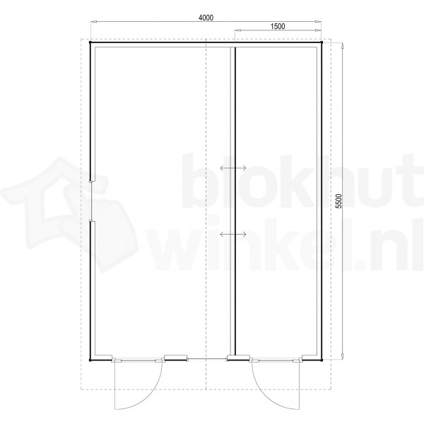 Plattegrond Woodford houtskeletbouw tuinhuis Cardiff 400x550