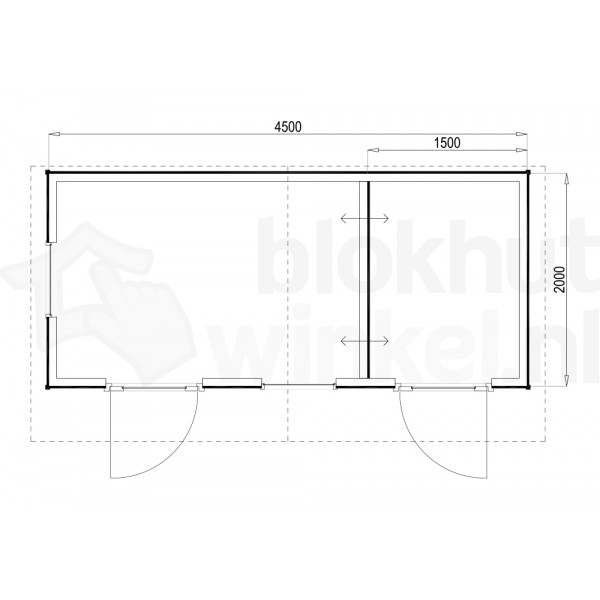 Plattegrond Woodford houtskeletbouw tuinhuis Cardiff 450x200
