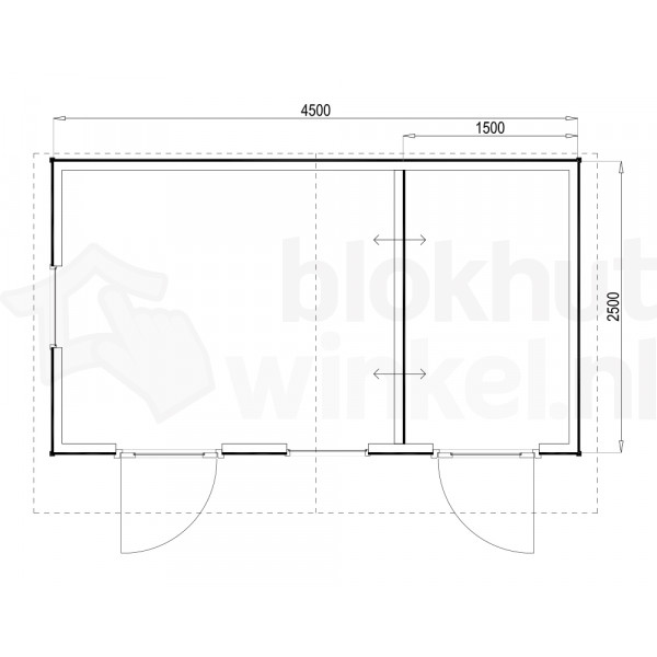 Plattegrond Woodford houtskeletbouw tuinhuis Cardiff 450x250