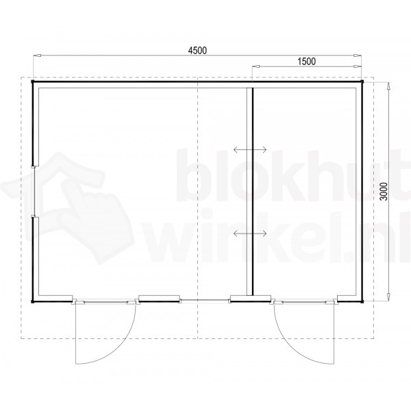 Plattegrond Woodford houtskeletbouw tuinhuis Cardiff 450x300