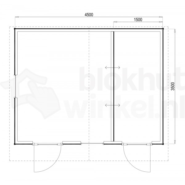 Plattegrond Woodford houtskeletbouw tuinhuis Cardiff 450x350