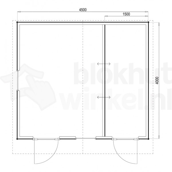 Plattegrond Woodford houtskeletbouw tuinhuis Cardiff 450x400