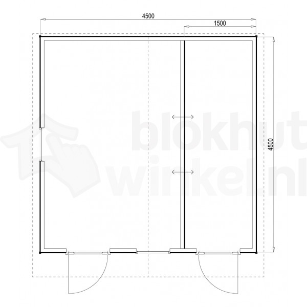 Plattegrond Woodford houtskeletbouw tuinhuis Cardiff 450x450