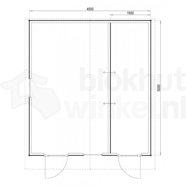 Plattegrond Woodford houtskeletbouw tuinhuis Cardiff 450x500