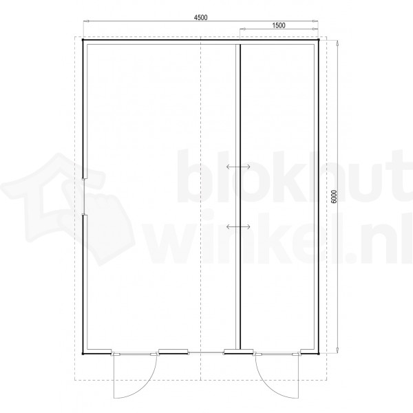 Plattegrond Woodford houtskeletbouw tuinhuis Cardiff 450x600