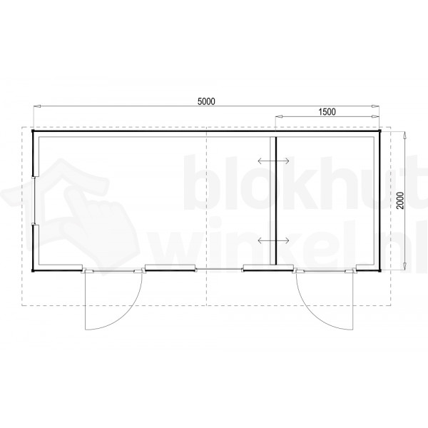 Plattegrond Woodford houtskeletbouw tuinhuis Cardiff 500x200