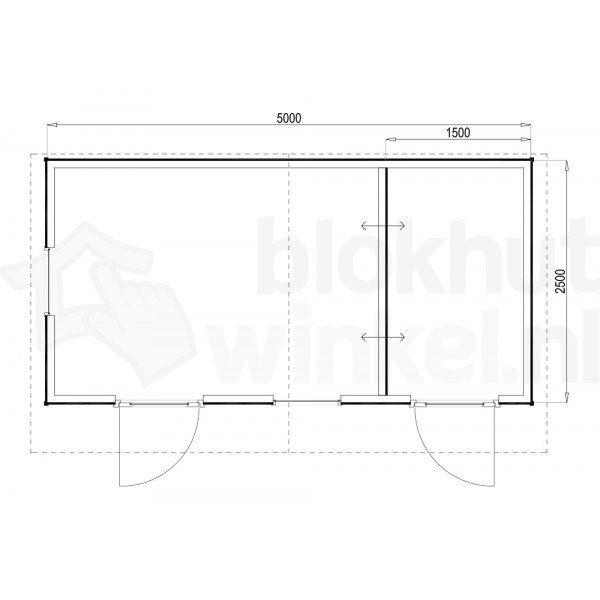 Plattegrond Woodford houtskeletbouw tuinhuis Cardiff 500x250