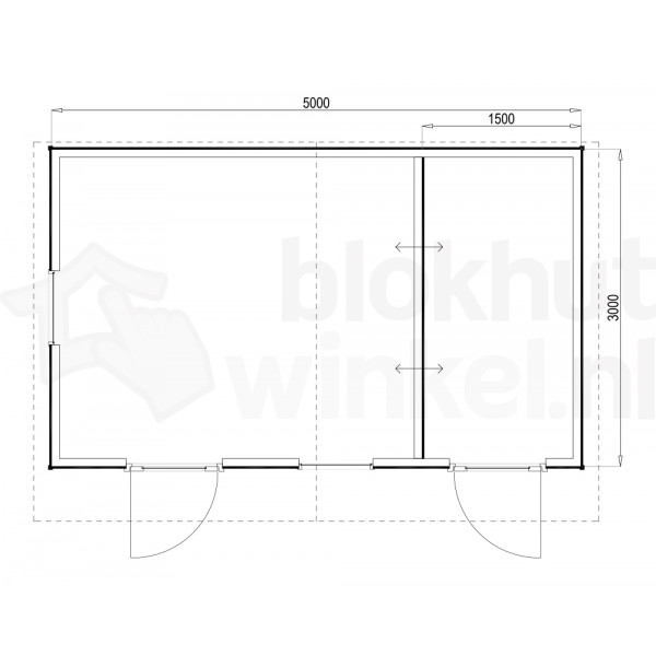 Plattegrond Woodford houtskeletbouw tuinhuis Cardiff 500x300