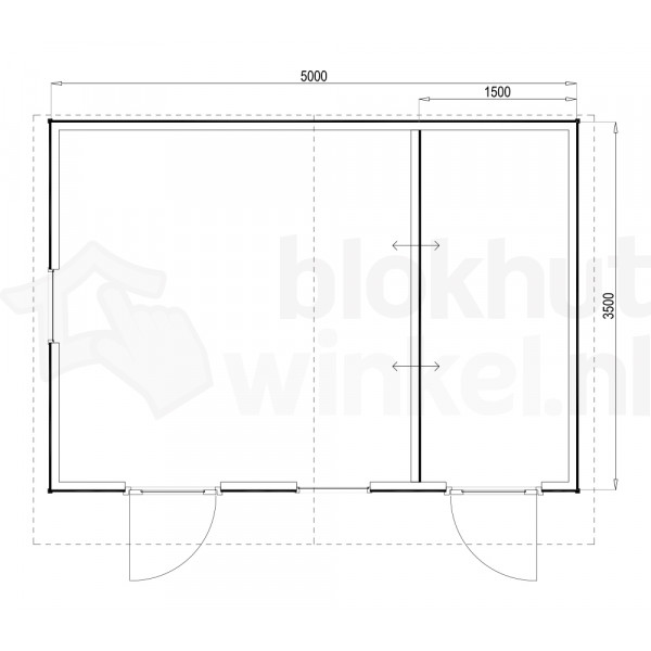 Plattegrond Woodford houtskeletbouw tuinhuis Cardiff 500x350