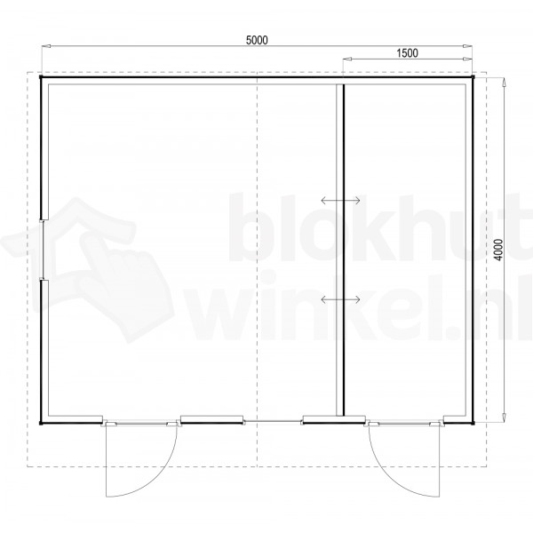 Plattegrond Woodford houtskeletbouw tuinhuis Cardiff 500x400