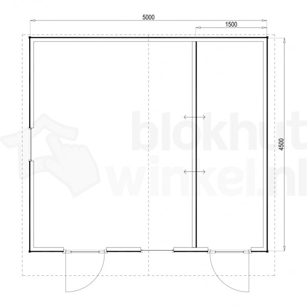 Plattegrond Woodford houtskeletbouw tuinhuis Cardiff 500x450