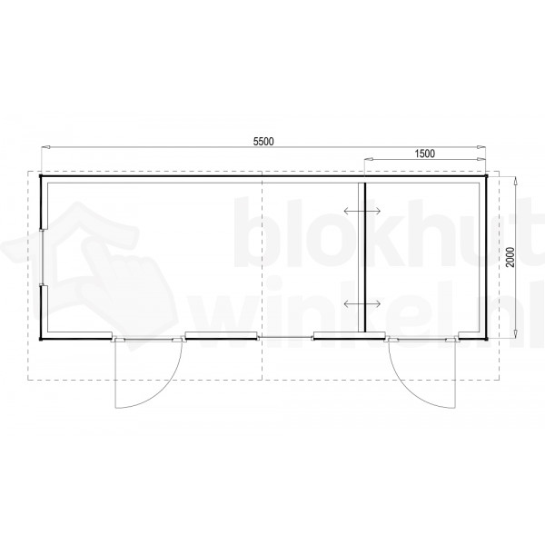 Plattegrond Woodford houtskeletbouw tuinhuis Cardiff 550x200