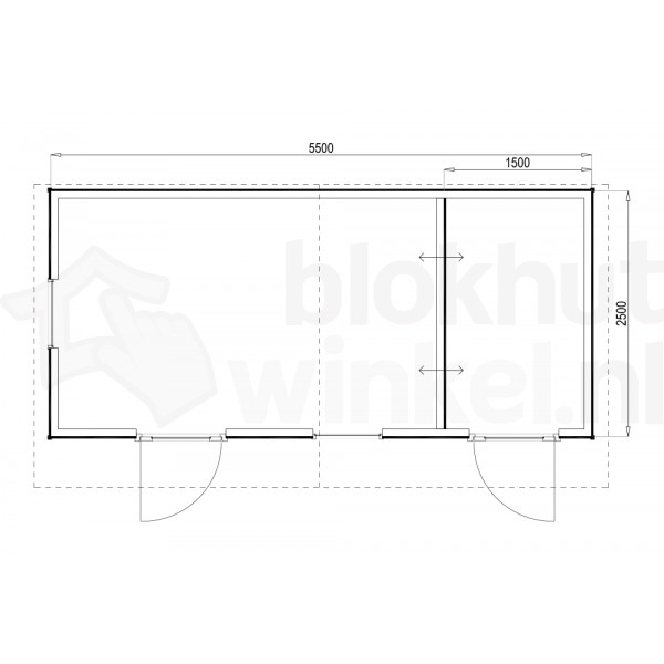 Plattegrond Woodford houtskeletbouw tuinhuis Cardiff 550x250