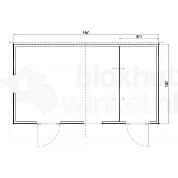 Plattegrond Woodford houtskeletbouw tuinhuis Cardiff 550x300