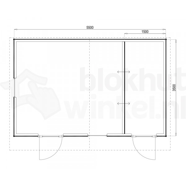 Plattegrond Woodford houtskeletbouw tuinhuis Cardiff 550x350