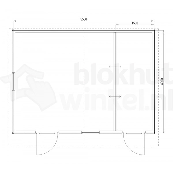 Plattegrond Woodford houtskeletbouw tuinhuis Cardiff 550x400