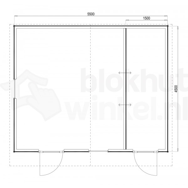 Plattegrond Woodford houtskeletbouw tuinhuis Cardiff 550x450