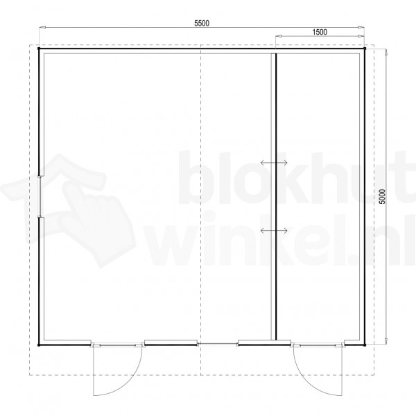 Plattegrond Woodford houtskeletbouw tuinhuis Cardiff 550x500