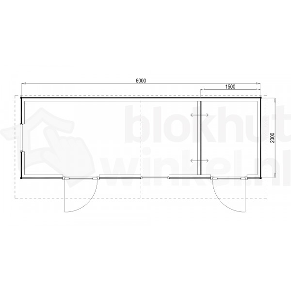 Plattegrond Woodford houtskeletbouw tuinhuis Cardiff 600x200