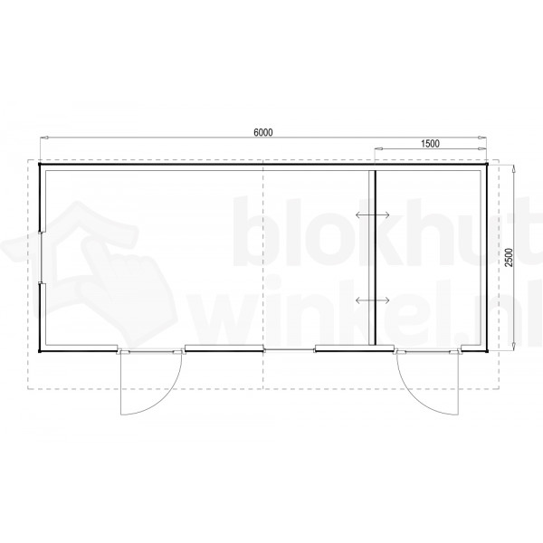 Plattegrond Woodford houtskeletbouw tuinhuis Cardiff 600x250