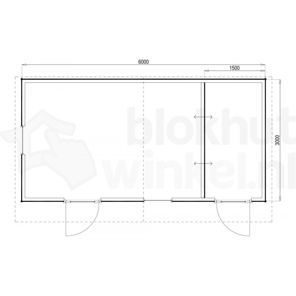 Plattegrond Woodford houtskeletbouw tuinhuis Cardiff 600x300