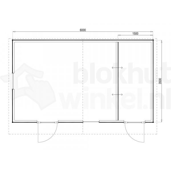 Plattegrond Woodford houtskeletbouw tuinhuis Cardiff 600x350