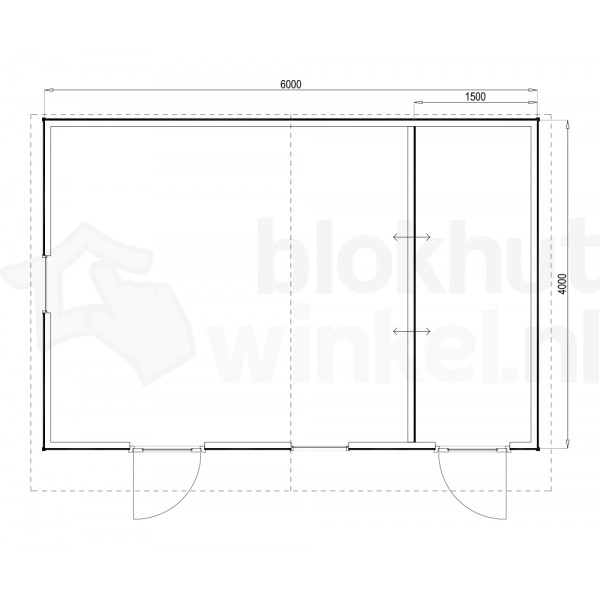 Plattegrond Woodford houtskeletbouw tuinhuis Cardiff 600x400