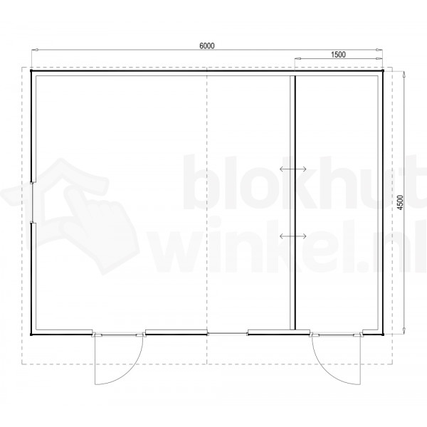Plattegrond Woodford houtskeletbouw tuinhuis Cardiff 600x450