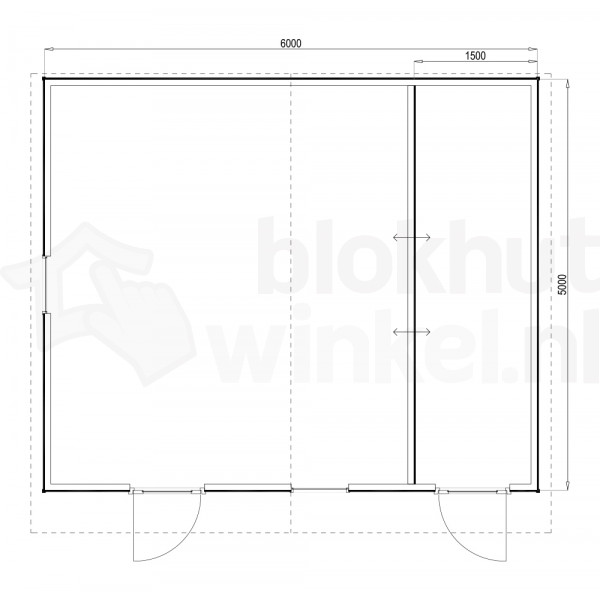 Plattegrond Woodford houtskeletbouw tuinhuis Cardiff 600x500