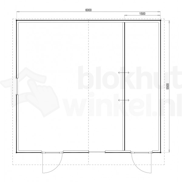 Plattegrond Woodford houtskeletbouw tuinhuis Cardiff 600x550