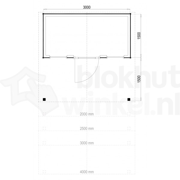 Plattegrond Woodford houtskeletbouw tuinhuis Kansas City 300x150