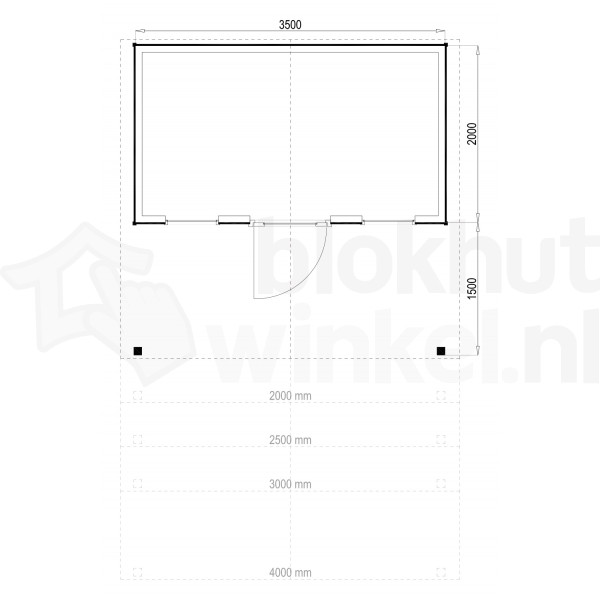 Plattegrond Woodford houtskeletbouw tuinhuis Kansas City 350x200