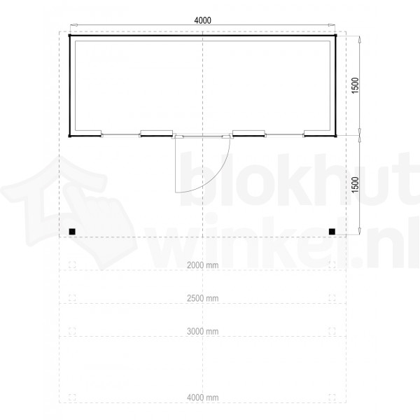 Plattegrond Woodford houtskeletbouw tuinhuis Kansas City 400x150