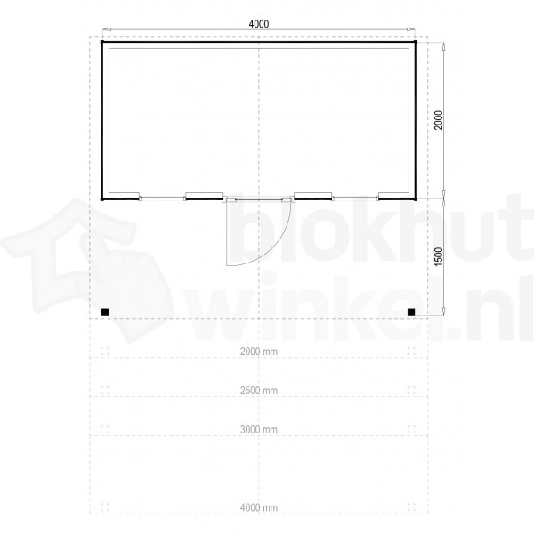 Plattegrond Woodford houtskeletbouw tuinhuis Kansas City 400x200
