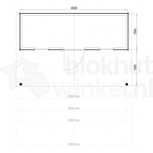 Plattegrond Woodford houtskeletbouw tuinhuis Kansas City 450x150