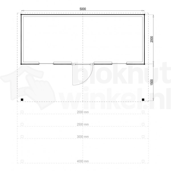 Plattegrond Woodford houtskeletbouw tuinhuis Kansas City 500x200