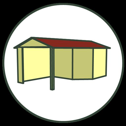 Blokhutten en tuinhuizen met luifel