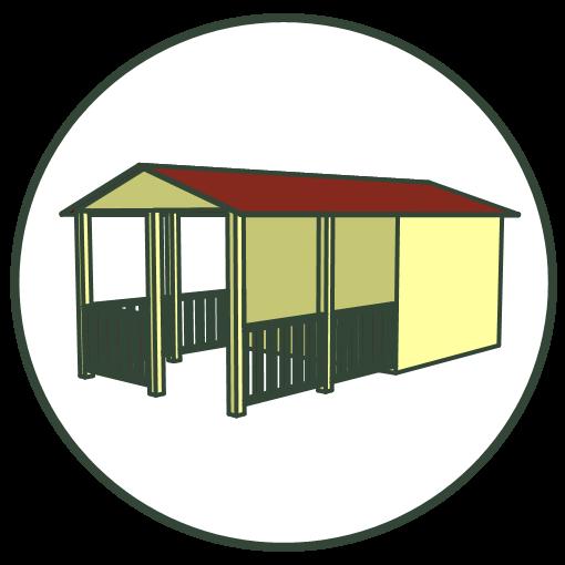 Blokhutten en tuinhuizen met veranda
